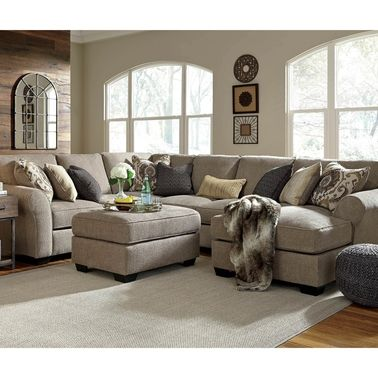 Benchcraft Pantomine 4 Pc Sectional Raf Chaise Armless Loveseat Wedge Laf Loveseat Sofas Couches H Rustic Living Room Living Room Remodel City Furniture
