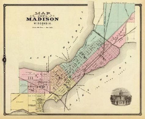 Madison Map Wisconsin Vintage Map Of Madison City Map