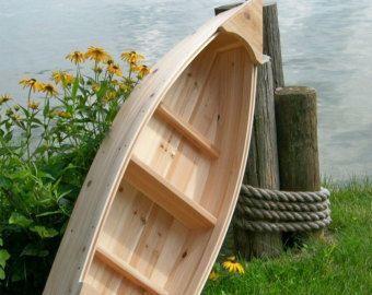 6 Foot Handcrafted Wood Row Boat Bookshelf Bookcase Shelve Modern Rustikaler Garten Garten Diy Gartendekoration