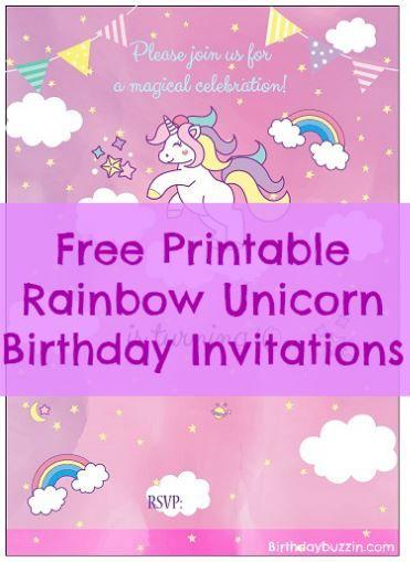 Free Printable Rainbow Unicorn Birthday Invitations Birthday Buzzin Rainbow Unicorn Birthday Invitations Unicorn Birthday Invitations Rainbow Unicorn Birthday