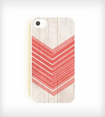 White Wood + Coral Chevron iPhone Case.