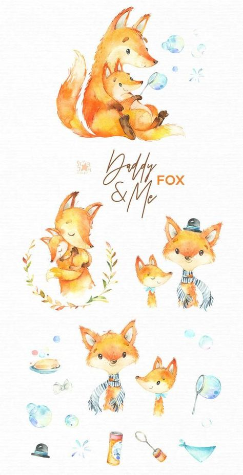 Daddy Me Fox Watercolor Animals Clipart Father Hugs Aquarell