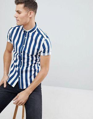 ASOS DESIGN skinny stripe shirt in blue