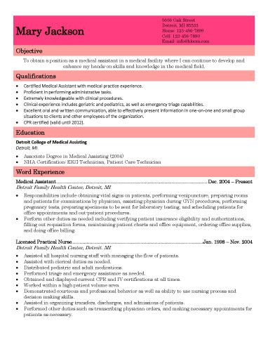 Basic Medical Assistant Resume Sample Resume Templates and - medical assitant resume