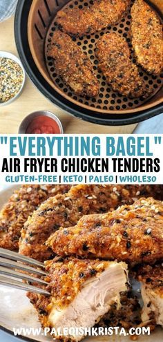 Looking for a way to put that everything bagel seasoning to good use? Look no further. This recipe for Everything Bagel Chicken Tenders is the absolute best. Tender chicken is dredged in a grain-free and low carb breading before being crisped to perfection in an air fryer or oven! #paleoishkrista #glutenfreerecipes #healthyairfryerrecipes #ketoairfryerrecipes #whole30recipes