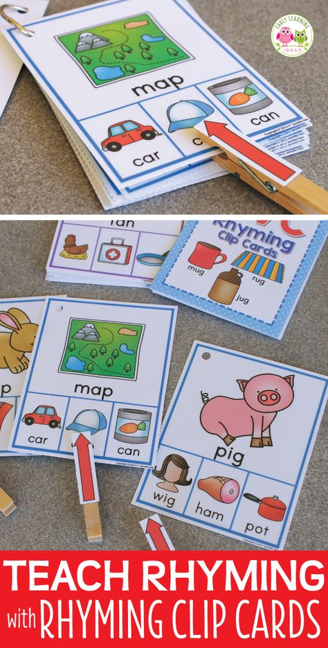 Rhyming activities for children Interactive Clip Cards with rhymed CVC words, Rhyming Activities, Preschool Activities, Phonological Awareness Activities, Free Preschool, Interactive Activities, Hands On Activities, Early Learning, Kids Learning, Kindergarten Centers