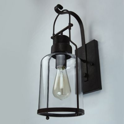 Rustic Country Style Jar Wall Light In Clear Glass Shade For Outdoor Warehouse Barn Wall Lights Glass Shades Glass