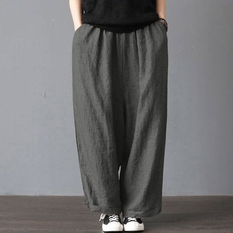 Men Casual Loose Wide Leg Pants Cotton Linen Casual Bloomers Trousers Harem  Plus Size Clothing