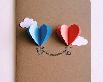 Rainbow Heart Hot Air Balloon Card   Etsy