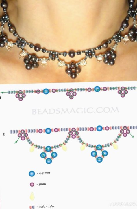 Free pattern for necklace Emprise The post Free pattern for necklace Emprise appeared first on Beautiful Daily Shares. jewelry beaded - Free pattern for beaded necklace Emprise U need: seed beads (yellow at the pattern) seed Seed bead jewelry daisy chain