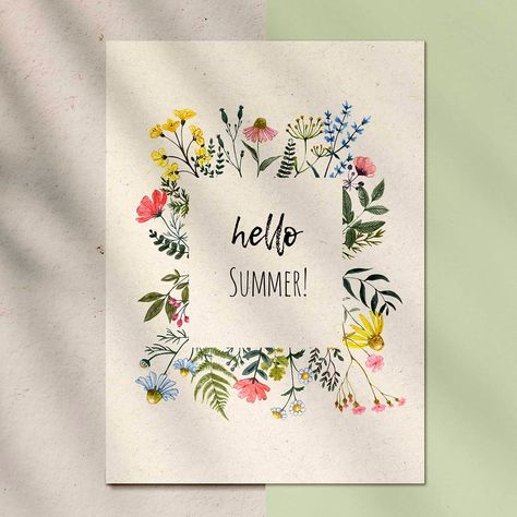Watercolor Wildflower Floral Frame Border Clipart Wreath   Etsy