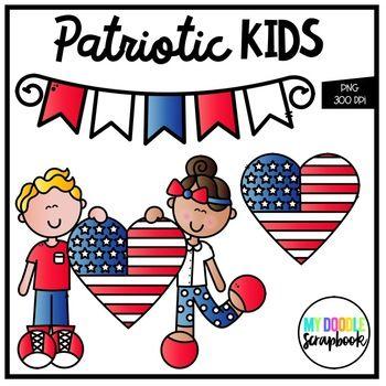 Patriotic Kids Freebie Clip Art For Personal Commercial Use Patriotic Kids Clip Art Patriotic