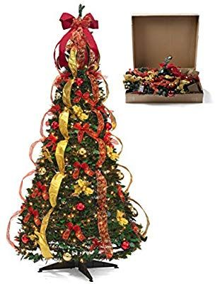 Amazon Com Christmas Tree Fully Decorated Pre Lit 6 Ft Pull Up Pop Up Out Of Box Ready Minimal Assembly Need Cool Christmas Trees Christmas Tree Holiday Decor