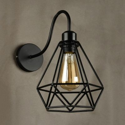 Industrial Wall Sconce With Wrought Iron Diamond Shape Metal Cage Wall Lights