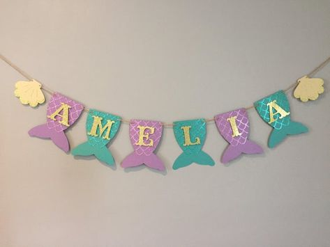 Mermaid Name Banner baby shower first birthday under the | Etsy