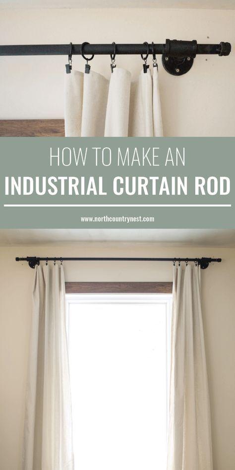 45 Ideas Diy Home Decor Industrial Curtain Rods Industrial Curtain Rod Industrial Home Design Diy Curtain Rods