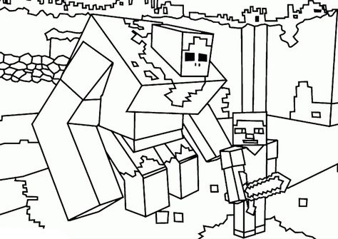 Steve And Huge Golem High Quality Free Coloring From The
