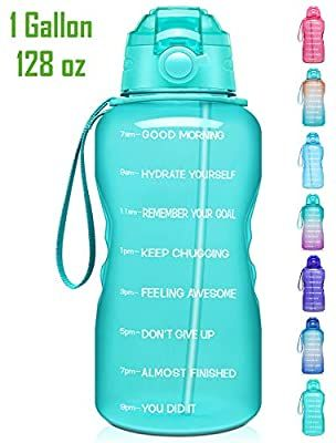 Amazon Com Giotto Large 1 Gallon 128oz Motivational Water Bottle With Time Marker Straw Leakproof Tr In 2020 Motivational Water Bottle Bpa Free Water Water Bottle