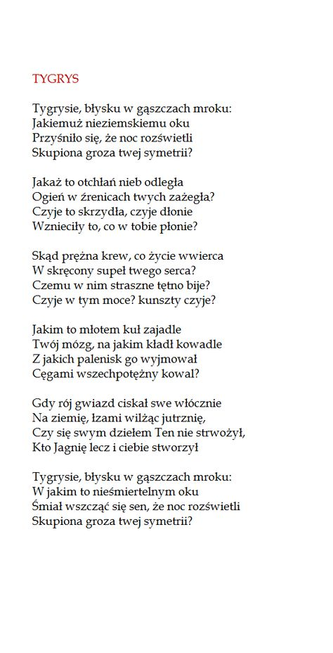 Tygrys William Blake By Stanislaw Baranczak Poems