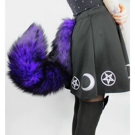 Purple & Black Fox Tail (Thick fur/Low Shed) - Kitten's Playpen