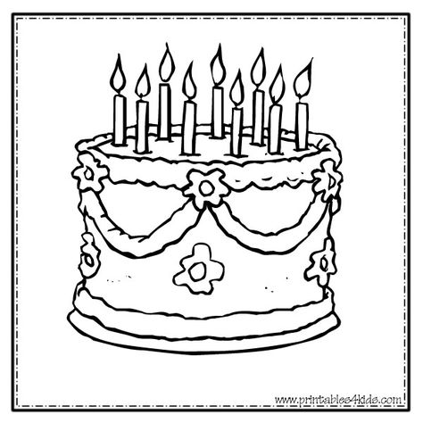 Pin By Nicole Bernadette On Speech Birthday Coloring Pages Happy Birthday Coloring Pages Cake Drawing