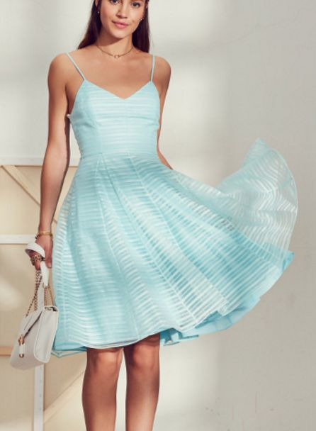 Stripe Organza Dress in Aqua
