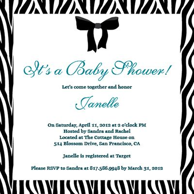 Baby Shower Invitations - A cute customizable zebra print baby shower invite
