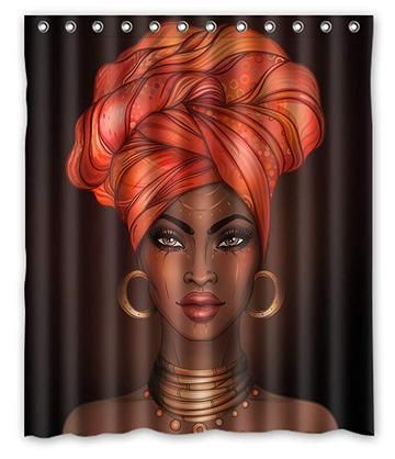 Romantic Afro Black King With Queen Shower Curtain Bathroom Decor Fabric Shower Curtains Black Shower Curtains Girls Shower Curtain