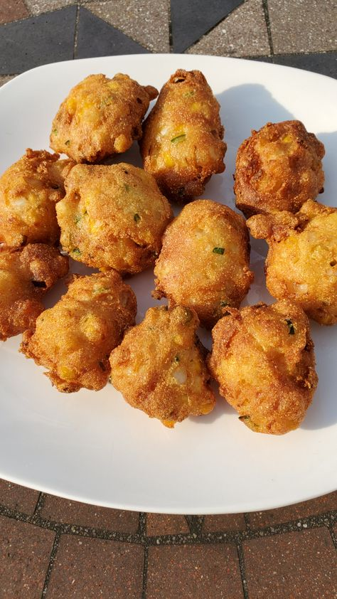 Homemade Hushpuppies With Corn Jalapeno Onion Made With Buttermilk Homemade Hushpuppies Hush Puppies Recipe Food