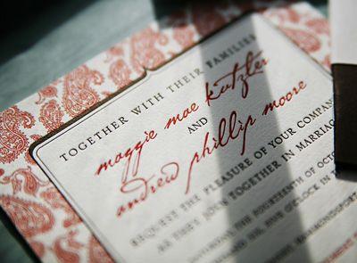 P22 Cezanne font on wedding invitation