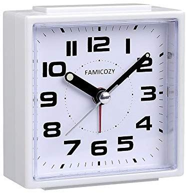 Famicozy Small Alarm Clock Quiet Non Ticking With Snooze And
