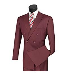 Vinci Men/'s Blue Double Breasted 6 Button Classic Fit Suit NEW