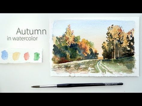 Painting Golden Autumn In Watercolor Aquarelle Landschaften