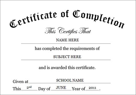 image regarding Free Printable Certificate of Completion identify Pinterest