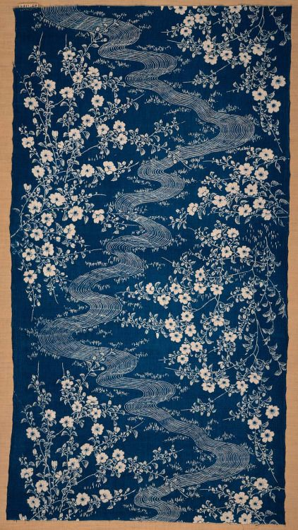 "nobrashfestivity: "" Fragment of cotton, katazome dyed, Japan, late 19th century """