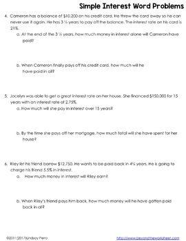 Simple Interest Word Problems Worksheet Word Problem Worksheets Word Problems Simple Word Problems