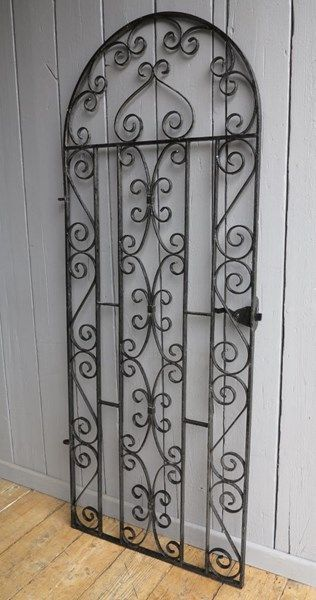 Vintage Wrought Iron Arched Top Pedestrian Gate Steel Gate