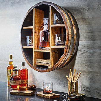 Whiskey Barrel Bar, Whiskey Barrel Furniture, Wine Barrels, Wine Cellar, Basement Bar Designs, Rustic Basement Bar, Basement Ideas, Basement Sports Bar, Basement Makeover