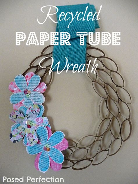 Recycled Paper Tube Wreath Tutorial by Posed Perfection