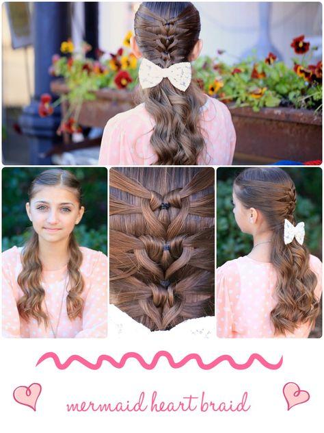 Valentine's Day Hairstyle #valentinesday #hairstyles #hairstyle #heart #braid #cutegirlshairstyles