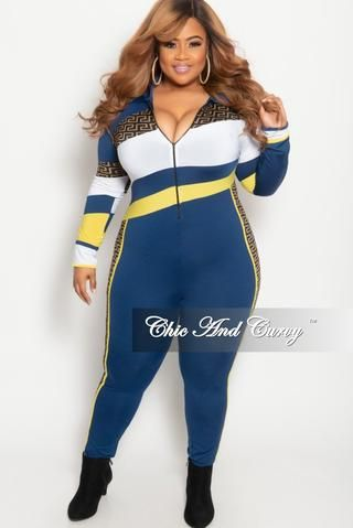 9b65913214a Final Sale Plus Size Zip-Up Maze Print Jumpsuit in Navy Yellow and ...