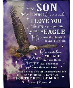 To My Son Never Forget That I Love You Eagle Gift From Dad Sherpa Fleece Blanket