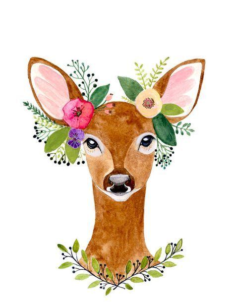 Deer Print, Deer Antler, Woodland Decor, Wall Art,Woodland nursery, Animal Print, Printable Art, Woodland animals, watercolor