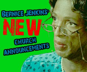 This is big: Bernice Jenkins and Steve Harvey's Sister Odell deliver the church announcements together!