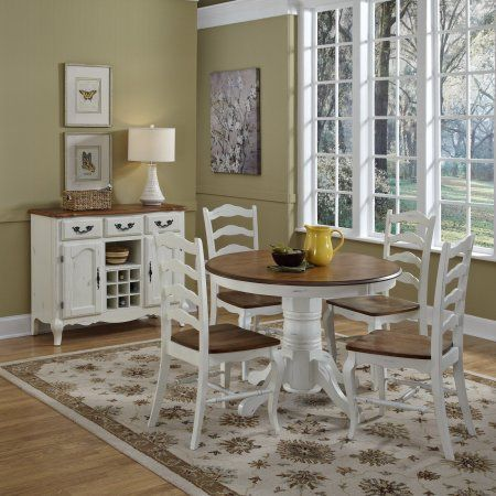 The French Countryside Oak And Rubbed White 5 Piece Dining Set Walmart Com Dining Room Sets French Countryside Dining Farmhouse Dining