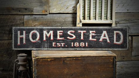 Custom Family Homestead Est Date Sign Rustic Hand Made Vintage Wooden Decorations Wooden Signs Vintage Wood Wooden Decor