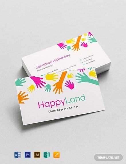 Child Care Business Card Template Word Doc Psd Apple Mac Pages Google Docs Illustrator Publisher Business Card Template Word Business Card Template Make Business Cards