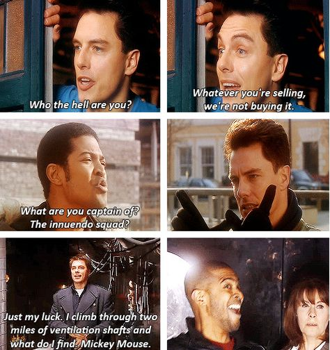 [gifset] Mickey and Captain Jack All Doctor Who, Doctor Who Quotes, Eleventh Doctor, Captain Jack Harkness, Watch Doctor, David Tennant Doctor Who, John Barrowman, Rory Williams, Donna Noble