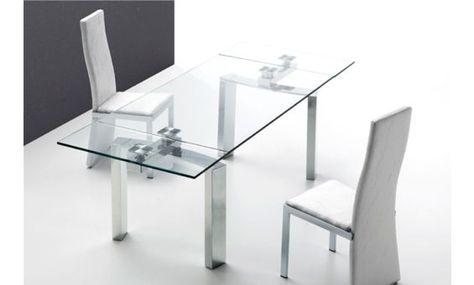 Mesa de comedor extensible de cristal extragrueso y acero ...