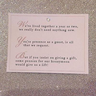 No Gifts - Honeymoon Wish Winter Wedding Pinterest Wedding - birthday invitation wording no gifts donation
